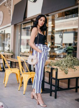Striped Culotte Pants with Black Shirt Outfit
