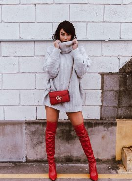 Long Sweater with Red Boots Outfit