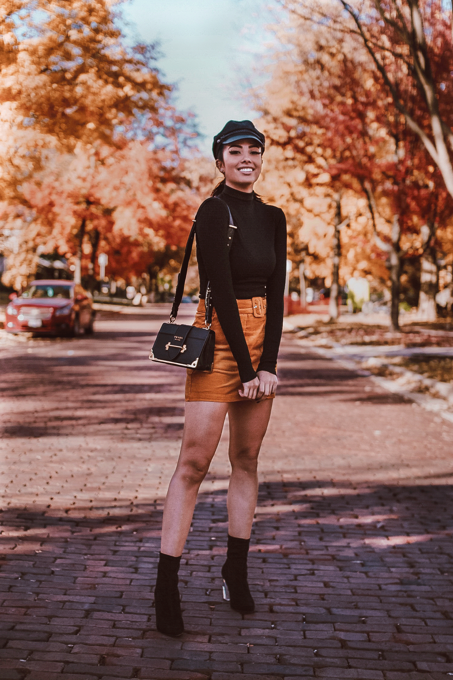mustard mini skirt outfit