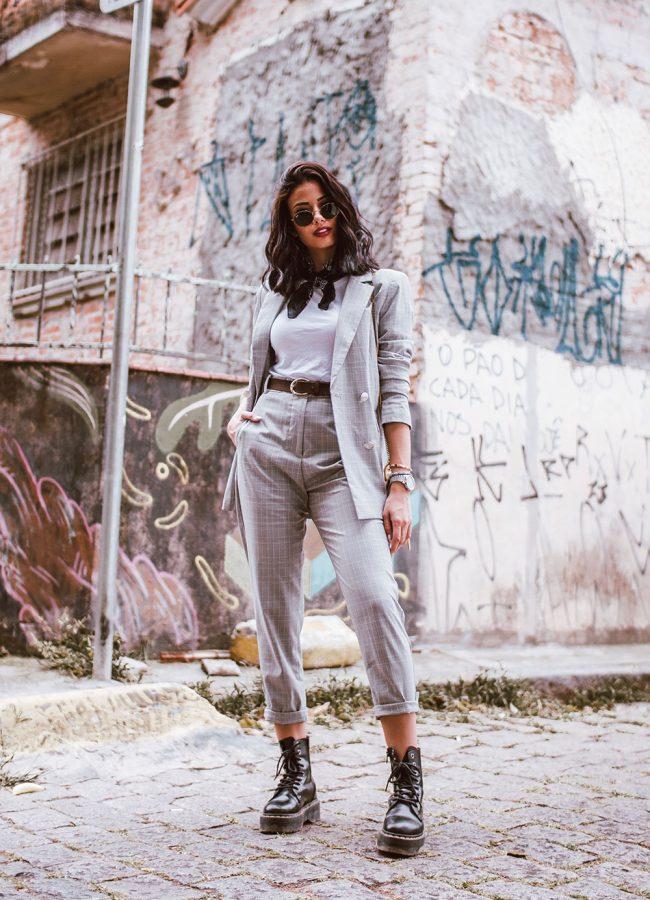 Plaid Blazer Set Outfit