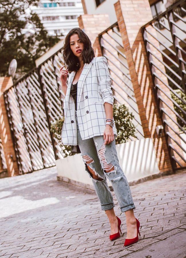 White Plaid Blazer Outfit
