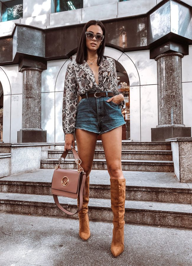 Snake Print Top with Knee High Boots