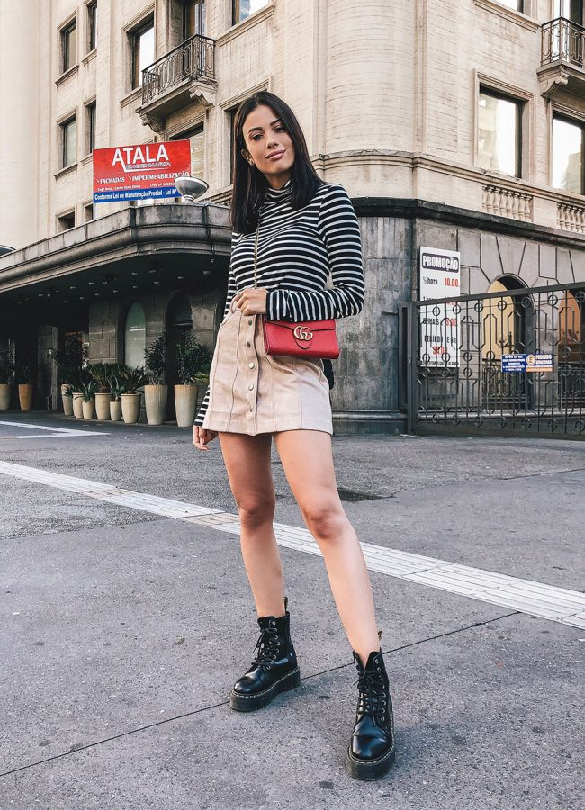 Striped Turtleneck Top Outfit