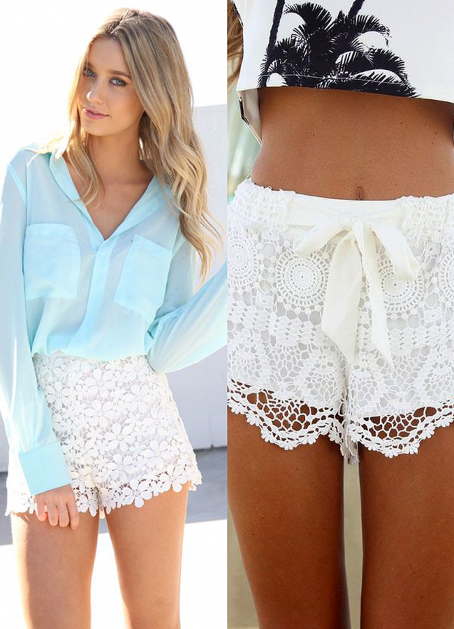 15 Cute Outfits to Wear With Lace Shorts
