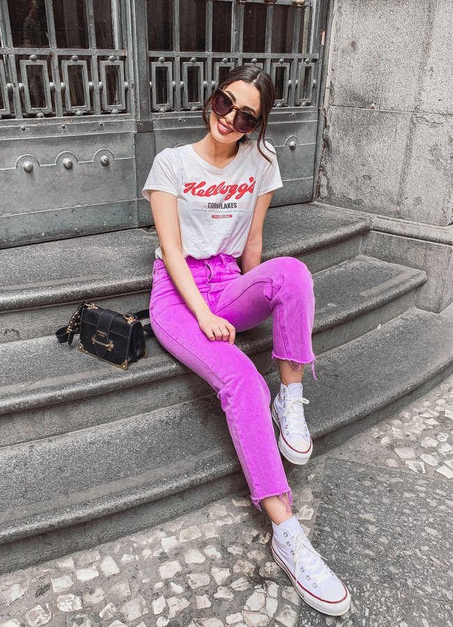 GRLFRND Electric Purple Jeans Outfit